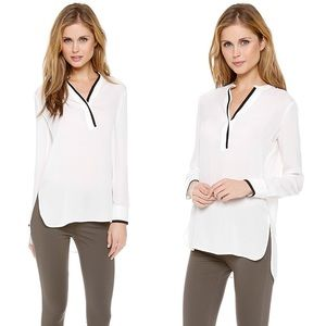 Vince Tipped Contrast Button Silk Blouse Size 2